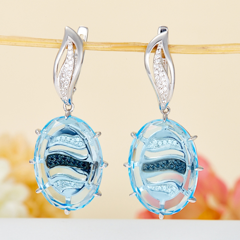 Серьги топаз голубой огранка (серебро 925 пр.) серьги коюз топаз серьги т142026393