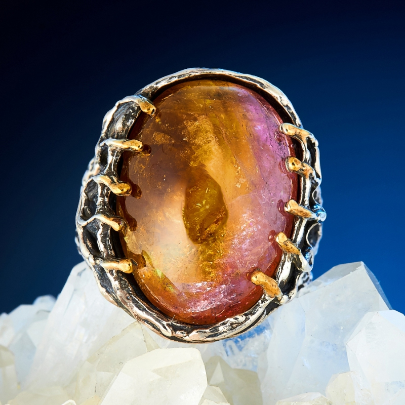 Кольцо турмалин полихромный  (серебро 925 пр., позолота) размер 18,5 кабошон турмалин полихромный 18 21 мм