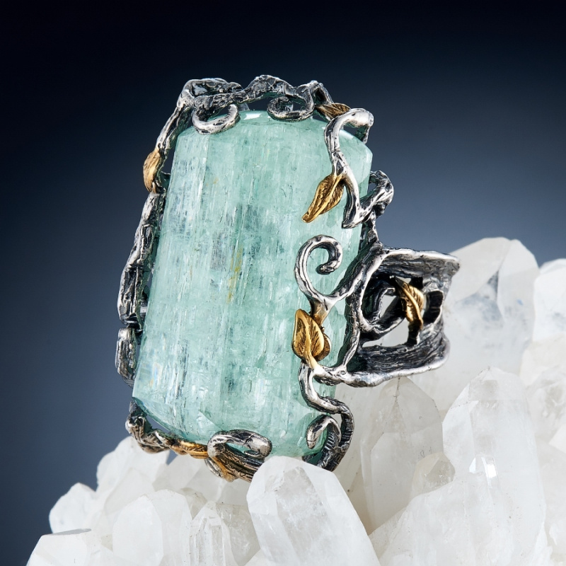 Кольцо аквамарин  (серебро 925 пр., позолота) размер 17,5