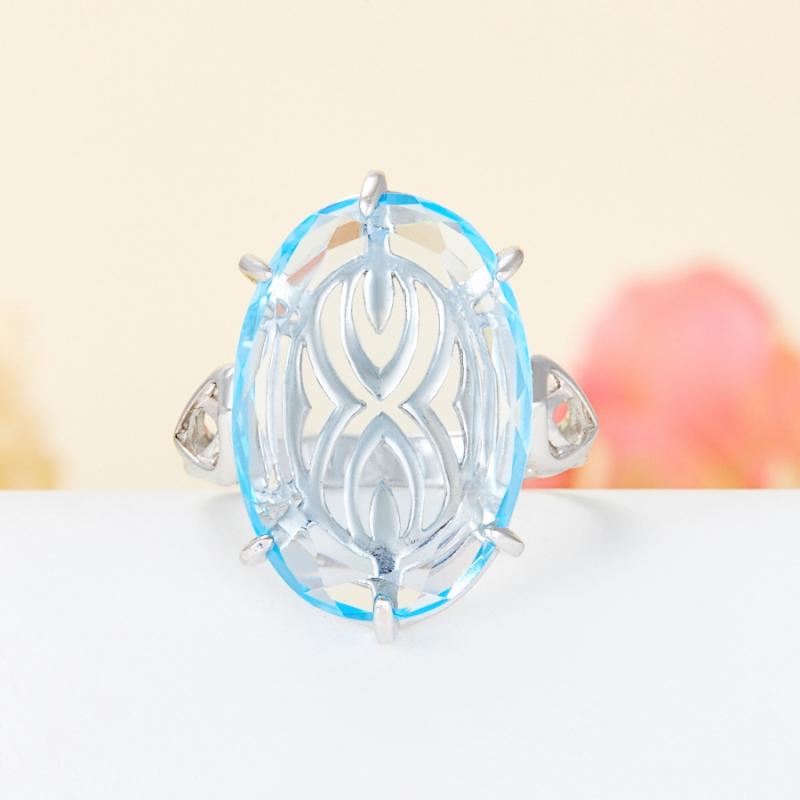 Кольцо топаз голубой огранка (серебро 925 пр.) размер 17 кольцо коюз топаз кольцо т702042932