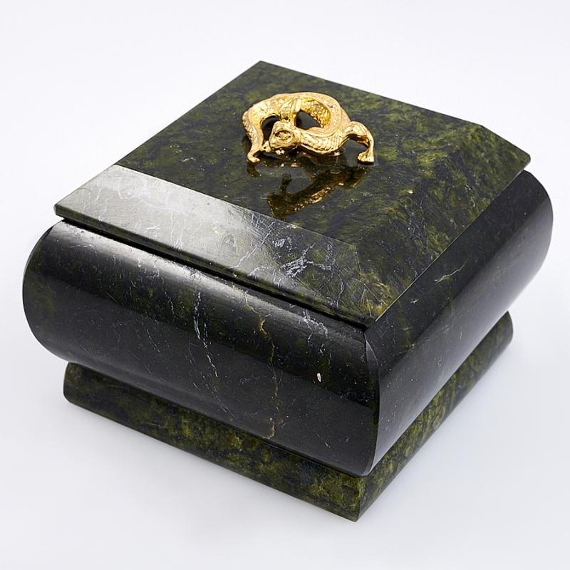 Шкатулка змеевик  75х75х55 мм