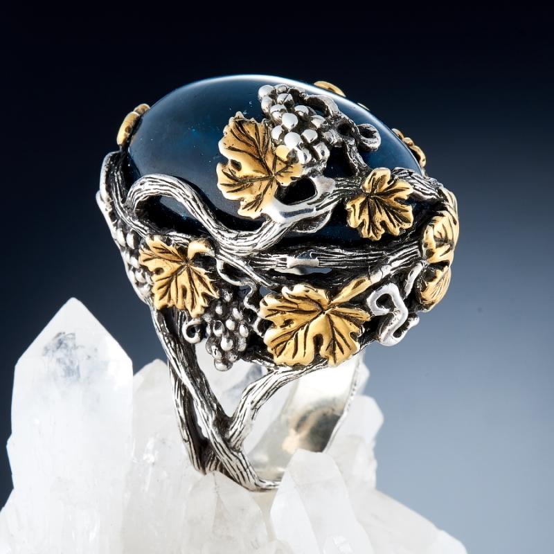 Кольцо апатит синий с эффектом кошачьего глаза Бразилия (серебро 925 пр., позолота) размер 18,5
