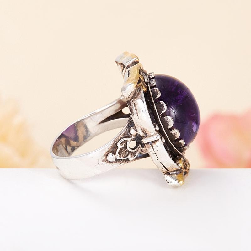 [del] Кольцо аметист Бразилия (серебро 925 пр., позолота) размер 22