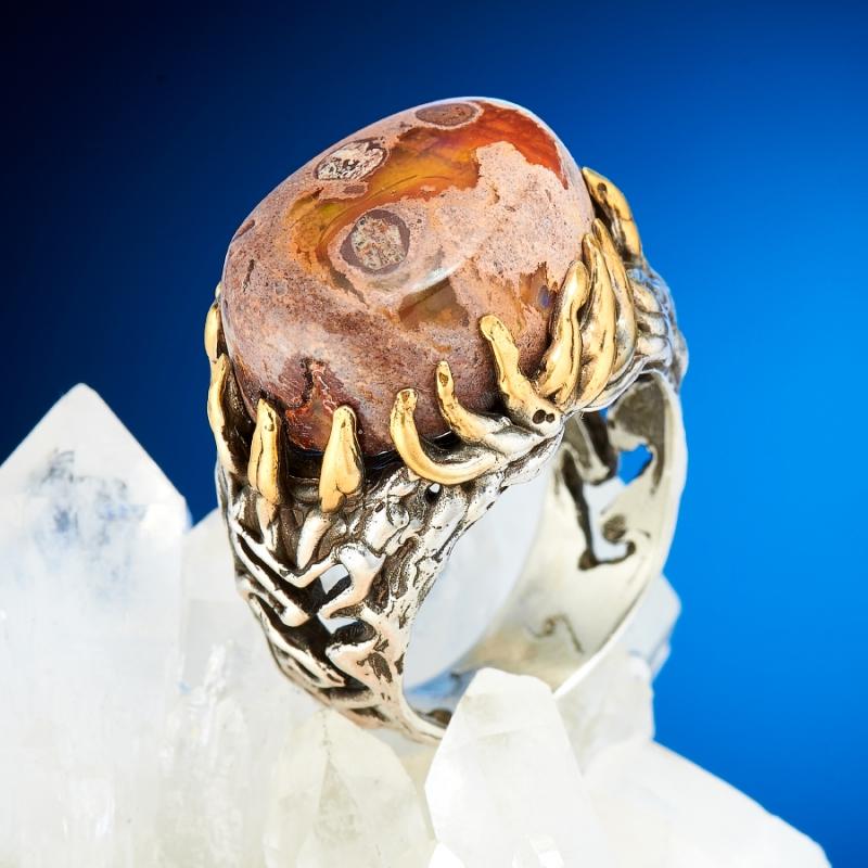 Кольцо опал благородный огненный  (серебро 925 пр., позолота) размер 18