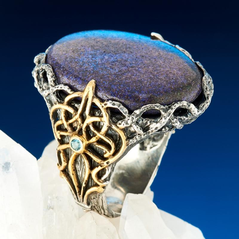 Кольцо опал благородный черный  (серебро 925 пр., позолота) размер 18