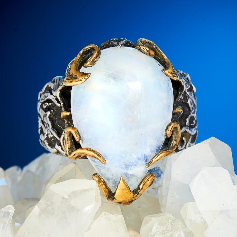 Кольцо лунный камень  (серебро 925 пр., позолота) размер 19