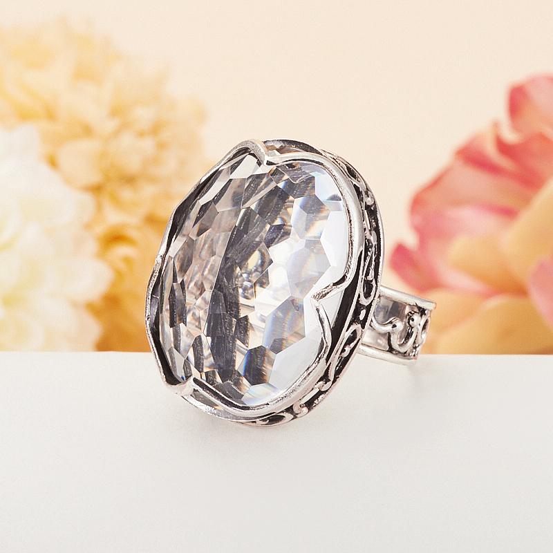 [del] Кольцо горный хрусталь Бразилия огранка (серебро 925 пр.) размер 23,5