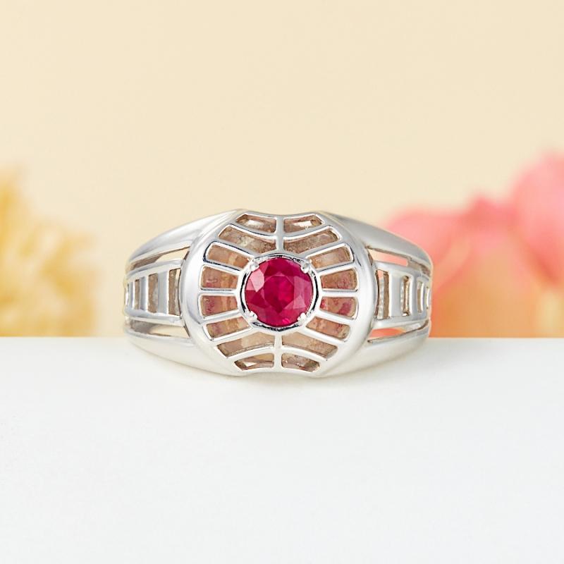 Кольцо рубин  огранка (серебро 925 пр.) размер 21