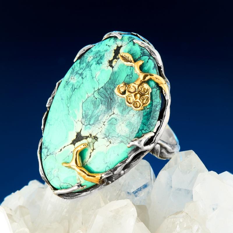 Кольцо бирюза Узбекистан (серебро 925 пр., позолота) размер 18,5