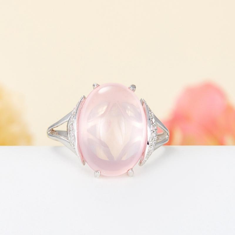 Кольцо розовый кварц  (серебро 925 пр.) размер 19,5