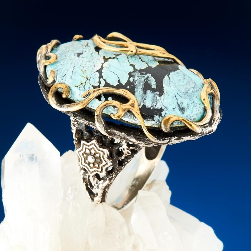Кольцо бирюза  (серебро 925 пр., позолота) размер 18