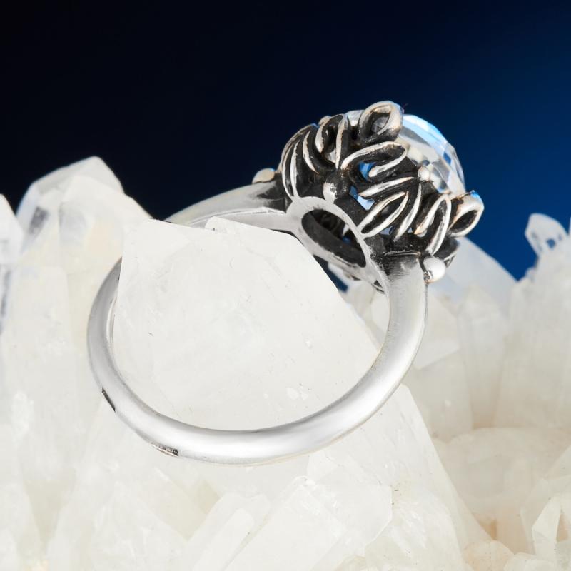 [del] Кольцо горный хрусталь Бразилия огранка (серебро 925 пр.) размер 17