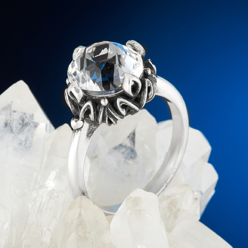 [del] Кольцо горный хрусталь Бразилия огранка (серебро 925 пр.) размер 22