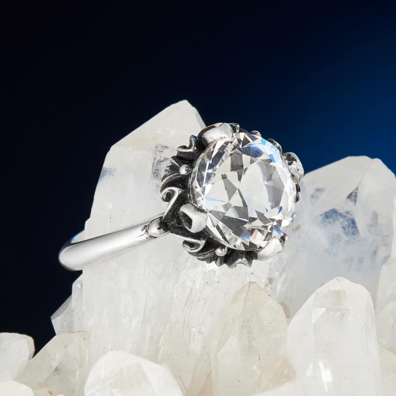 [del] Кольцо горный хрусталь Бразилия огранка (серебро 925 пр.) размер 22,5