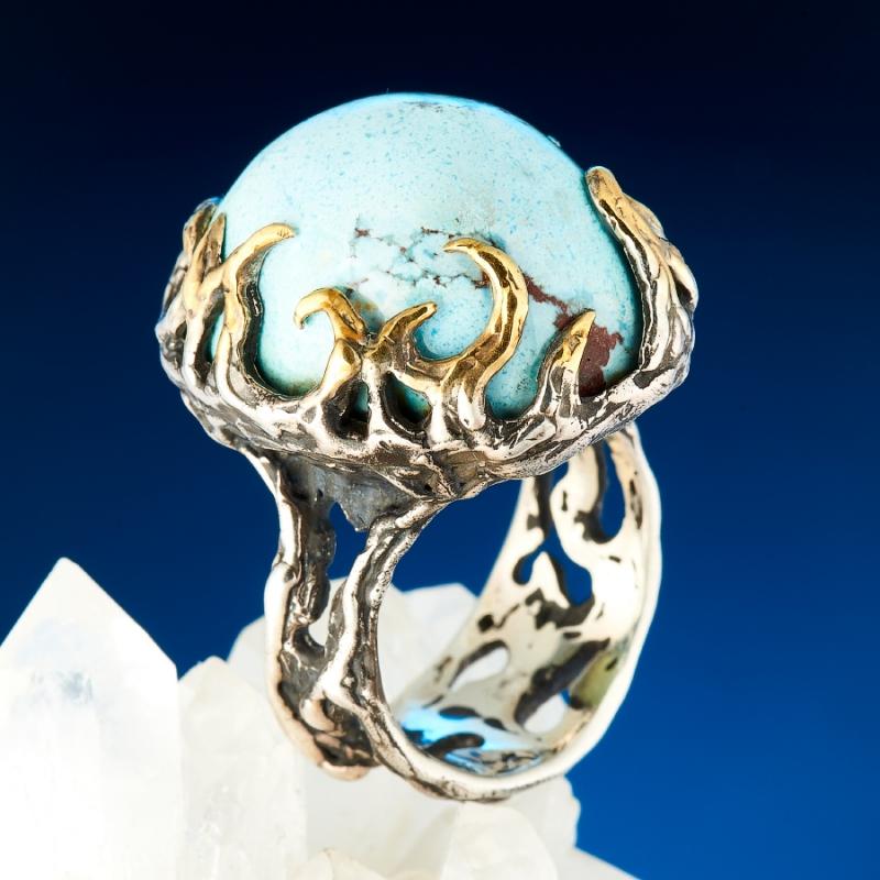 Кольцо бирюза  (серебро 925 пр., позолота) размер 19
