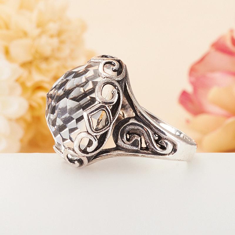 [del] Кольцо горный хрусталь Бразилия огранка (серебро 925 пр.) размер 18