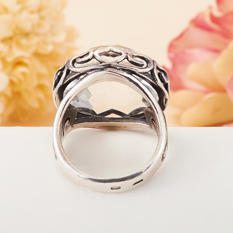 [del] Кольцо горный хрусталь Бразилия огранка (серебро 925 пр.) размер 23