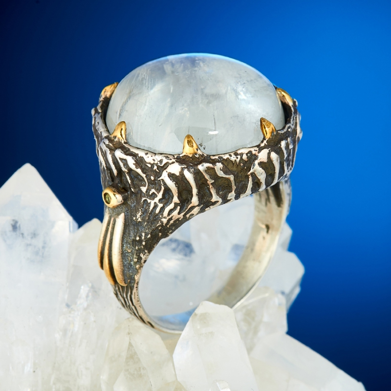Кольцо лунный камень (серебро 925 пр., позолота) размер 18 кольцо лунный камень серебро 925 пр размер 17 5