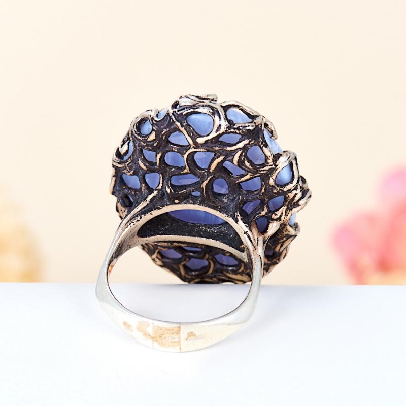 [del] Кольцо агат голубой Намибия (серебро 925 пр.) размер 19