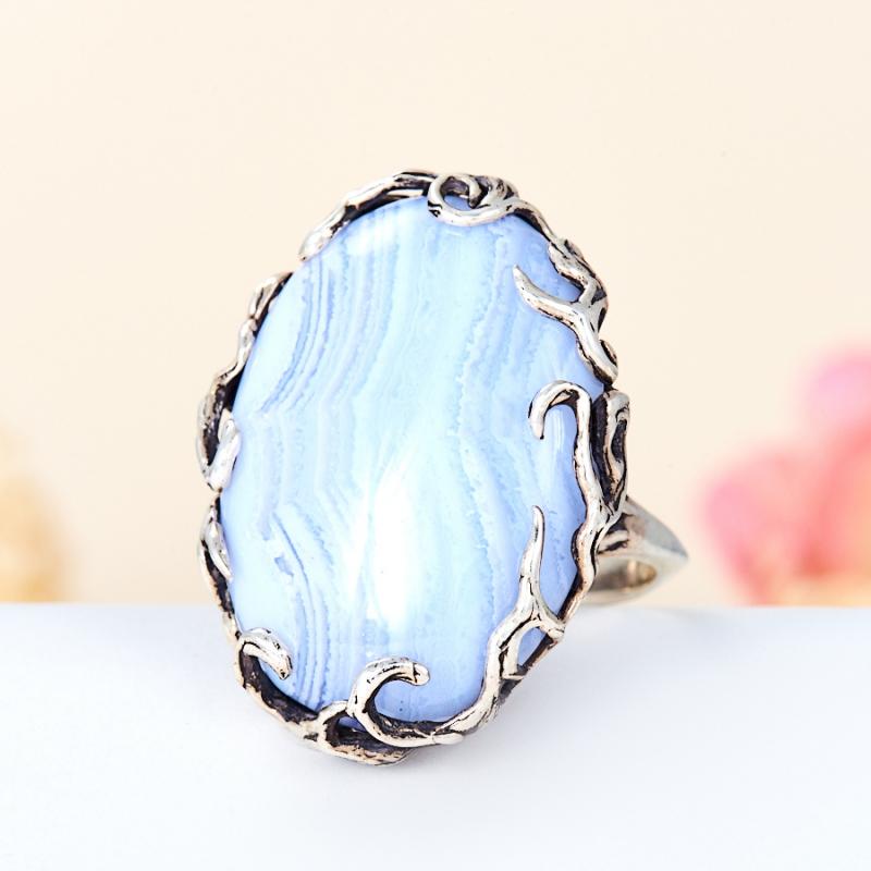 [del] Кольцо агат голубой Намибия (серебро 925 пр.) размер 25