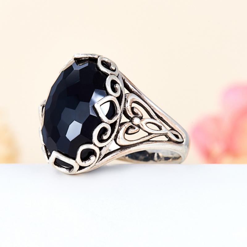 [del] Кольцо агат черный Бразилия огранка (серебро 925 пр.) размер 16
