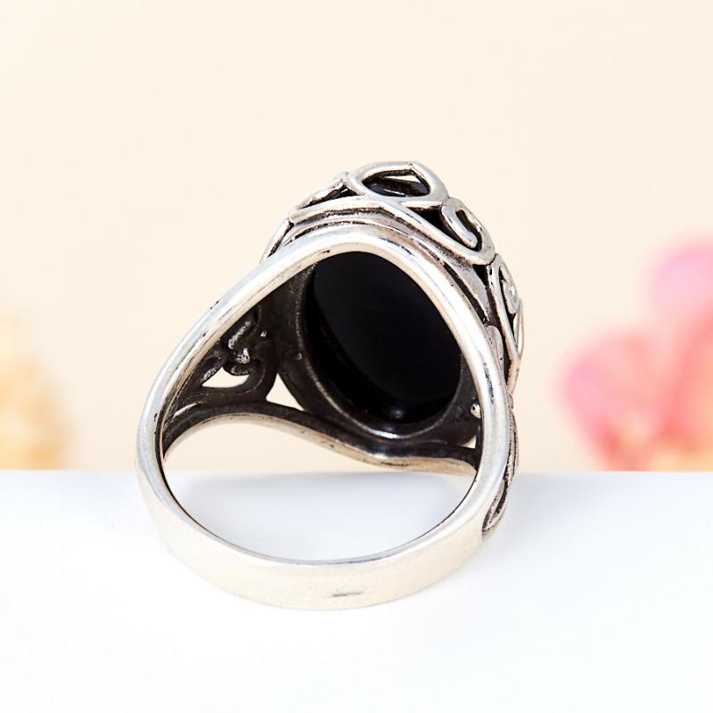 [del] Кольцо агат черный Бразилия огранка (серебро 925 пр.) размер 18,5