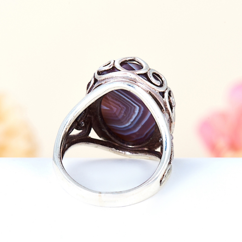 [del] Кольцо агат серый Ботсвана (серебро 925 пр.) размер 19