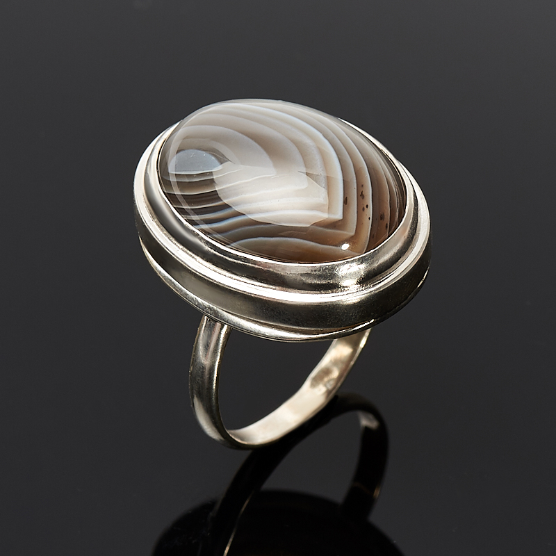 [del] Кольцо агат серый Ботсвана (серебро 925 пр.) размер 21,5
