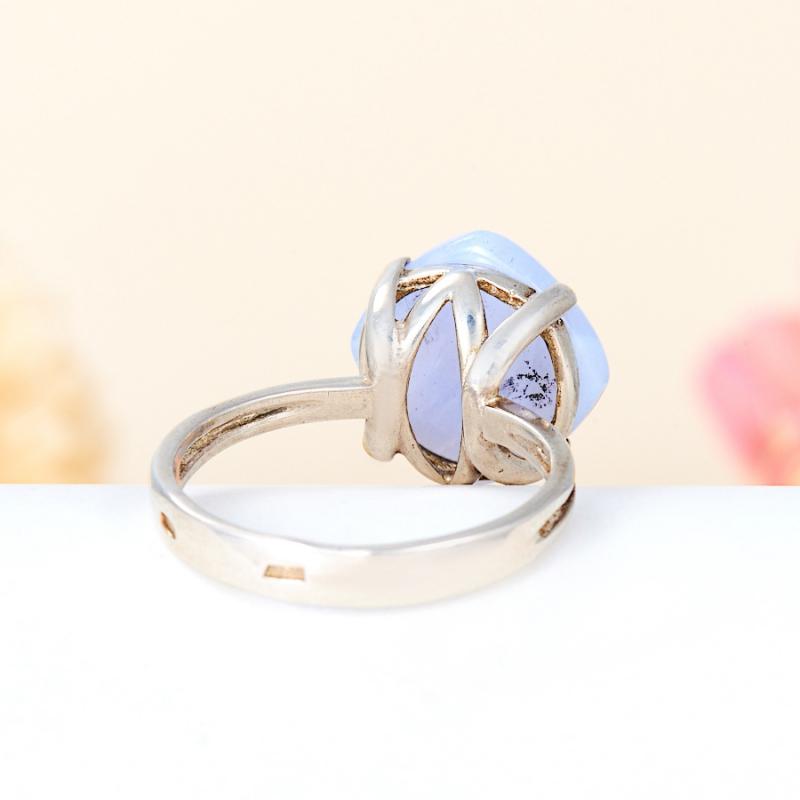[del] Кольцо агат голубой Намибия (серебро 925 пр.) размер 18