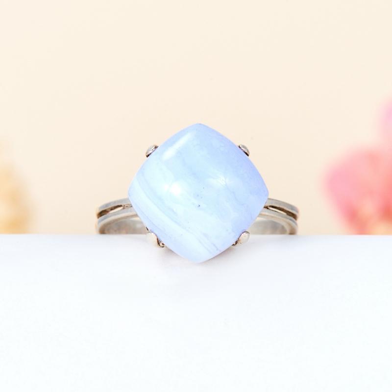 [del] Кольцо агат голубой Намибия (серебро 925 пр.) размер 20