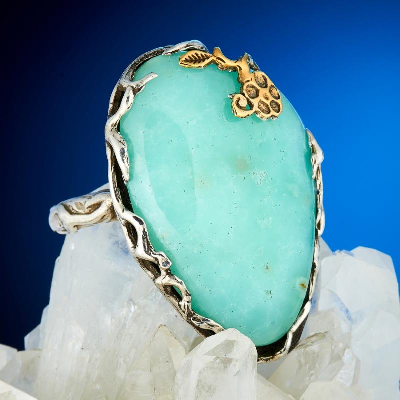 Кольцо хризопраз  (серебро 925 пр., позолота) размер 18