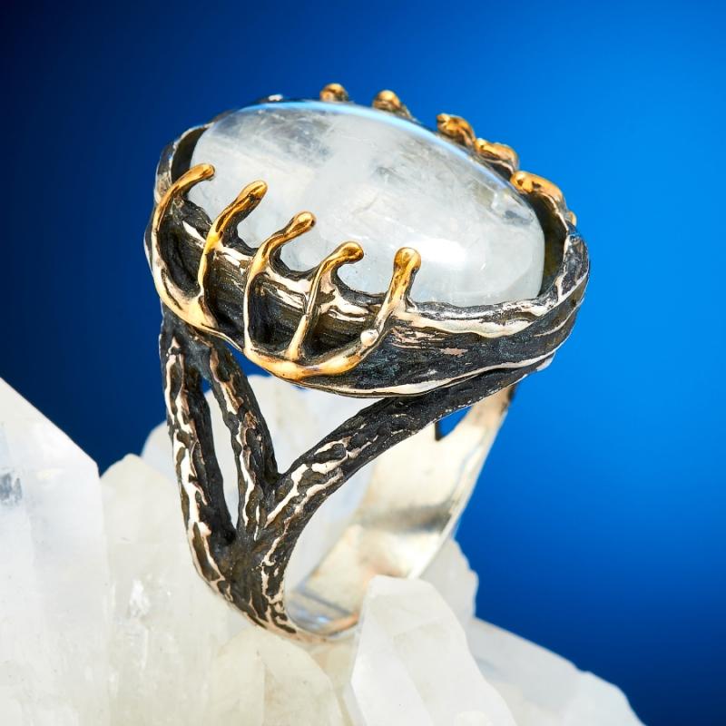 Кольцо лунный камень (серебро 925 пр., позолота) размер 18,5 кольцо лунный камень серебро 925 пр размер 17 5