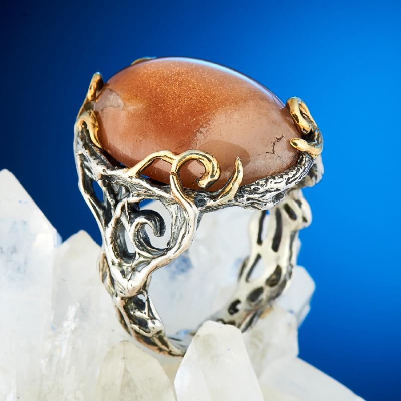 Кольцо солнечный камень  (серебро 925 пр., позолота) размер 17