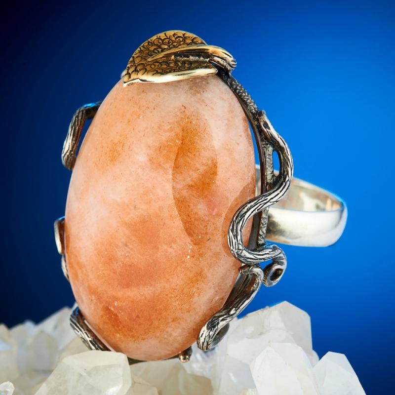Кольцо солнечный камень  (серебро 925 пр., позолота) размер 18,5