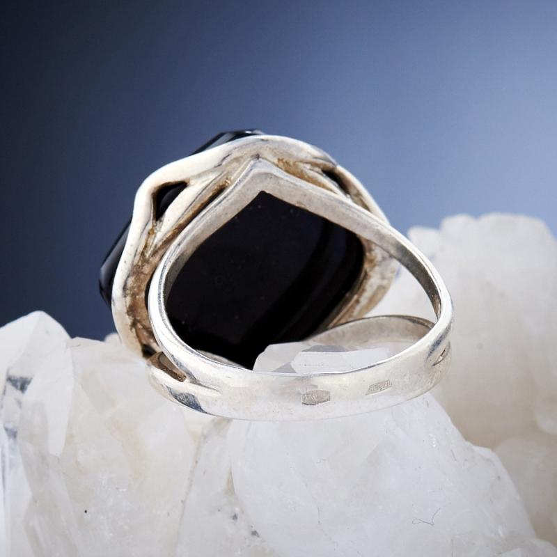 [del] Кольцо агат черный Бразилия огранка (серебро 925 пр.) размер 15,5