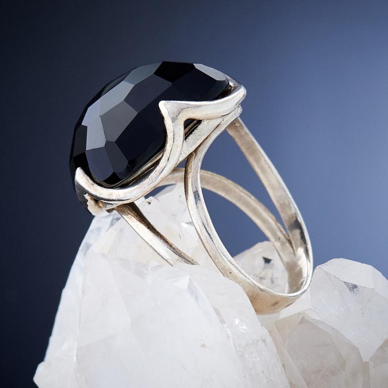 [del] Кольцо агат черный Бразилия огранка (серебро 925 пр.) размер 17
