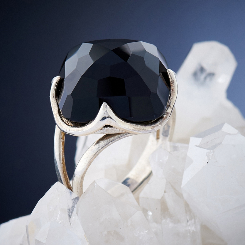[del] Кольцо агат черный Бразилия огранка (серебро 925 пр.) размер 22