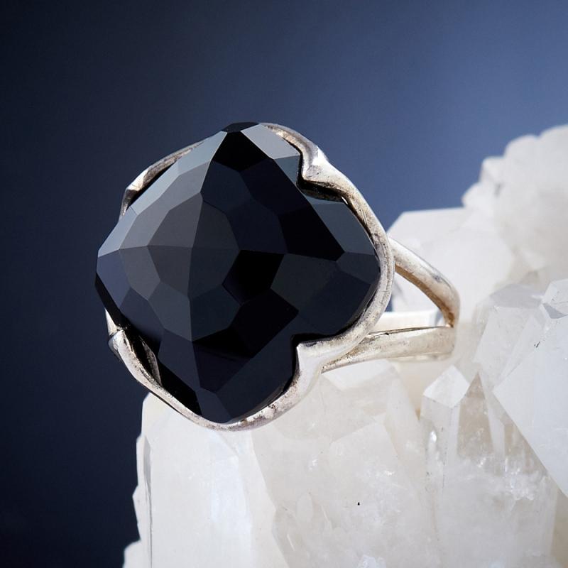 [del] Кольцо агат черный Бразилия огранка (серебро 925 пр.) размер 24