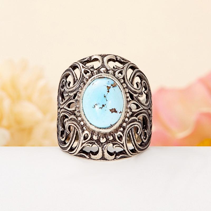 [del] Кольцо бирюза Казахстан (серебро 925 пр.) размер 25