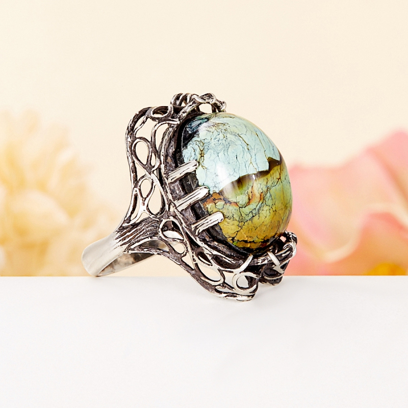 [del] Кольцо бирюза (дублет) Казахстан (серебро 925 пр.) размер 15