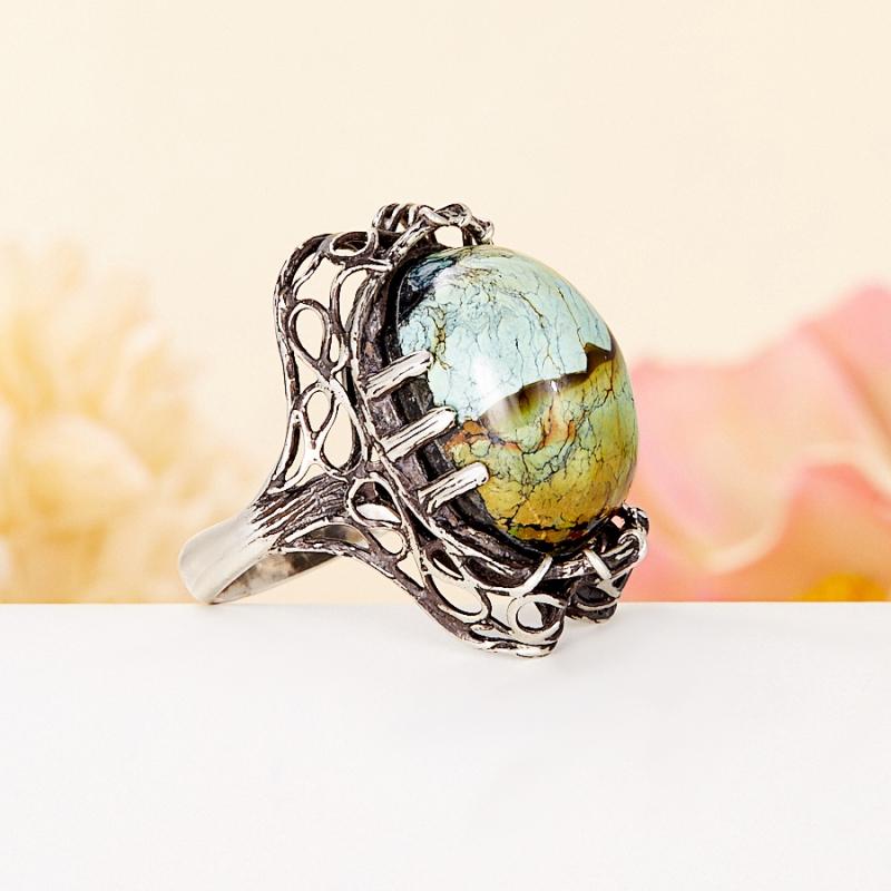 [del] Кольцо бирюза (дублет) Казахстан (серебро 925 пр.) размер 20
