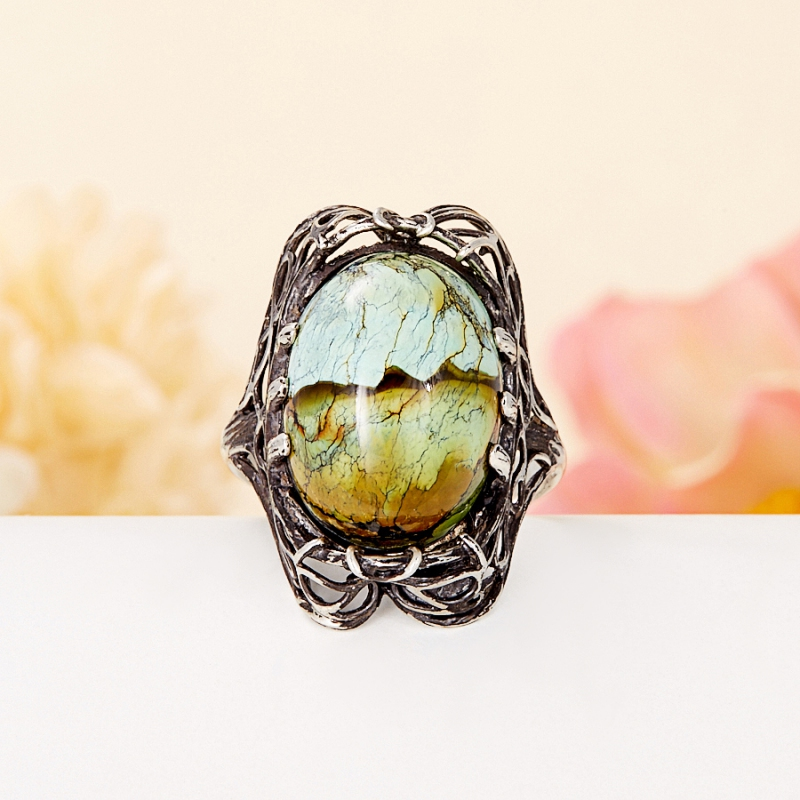 [del] Кольцо бирюза (дублет) Казахстан (серебро 925 пр.) размер 21