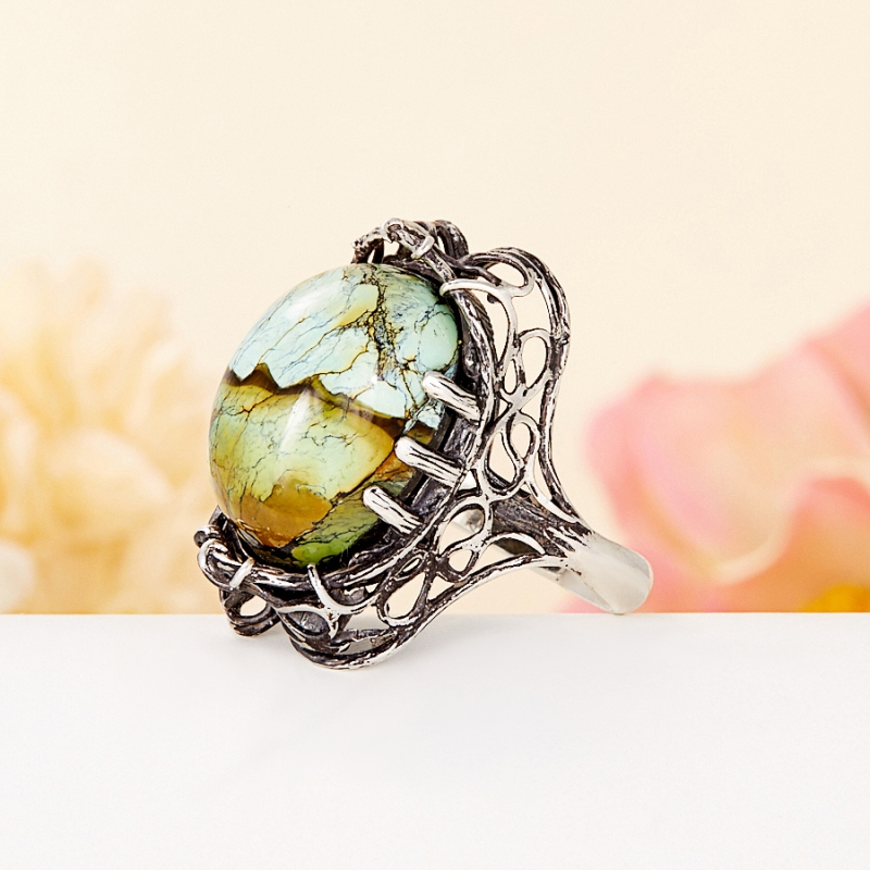 [del] Кольцо бирюза (дублет) Казахстан (серебро 925 пр.) размер 22,5