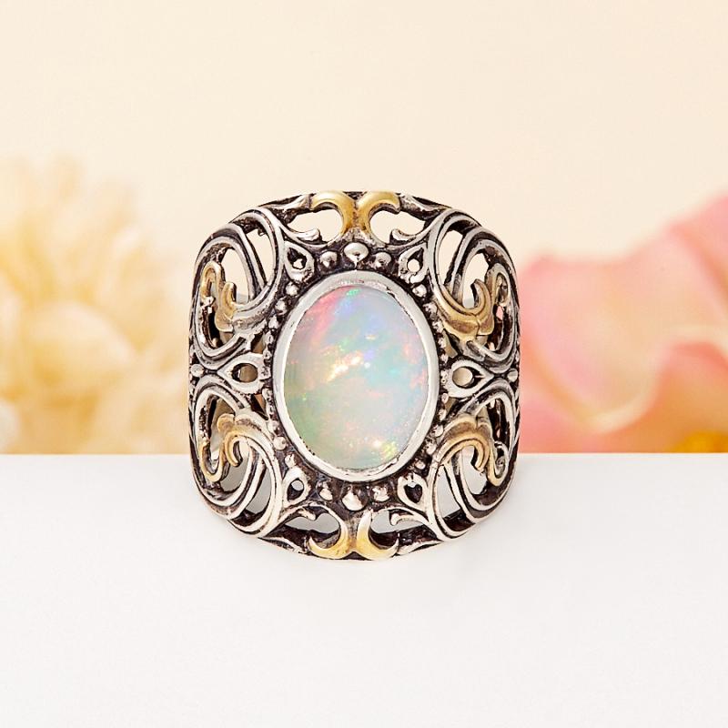 Кольцо опал благородный белый  (серебро 925 пр., позолота) размер 18,5