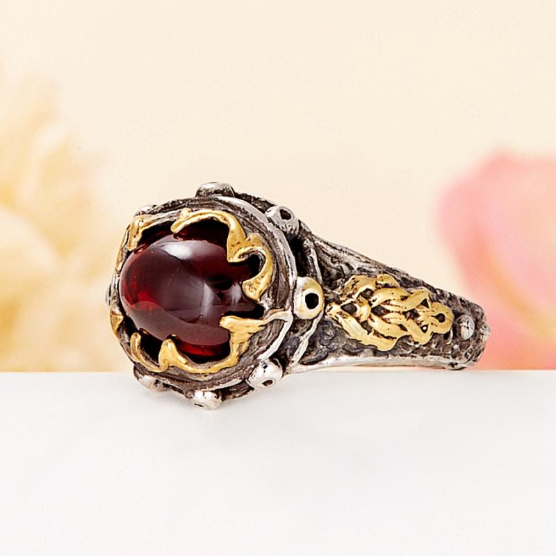 [del] Кольцо гранат альмандин Индия (серебро 925 пр., позолота) размер 21