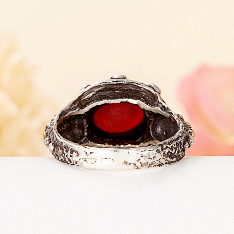 [del] Кольцо гранат альмандин Индия (серебро 925 пр., позолота) размер 22,5