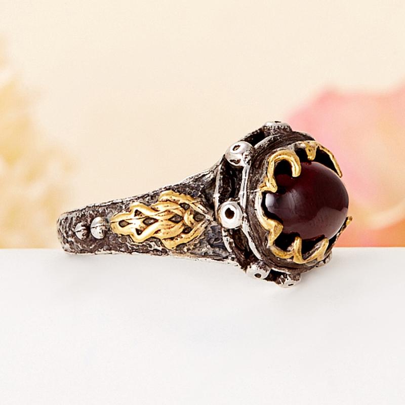 [del] Кольцо гранат альмандин Индия (серебро 925 пр., позолота) размер 25