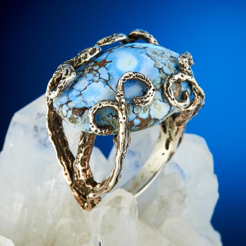 Кольцо бирюза Казахстан (серебро 925 пр.) размер 17,5