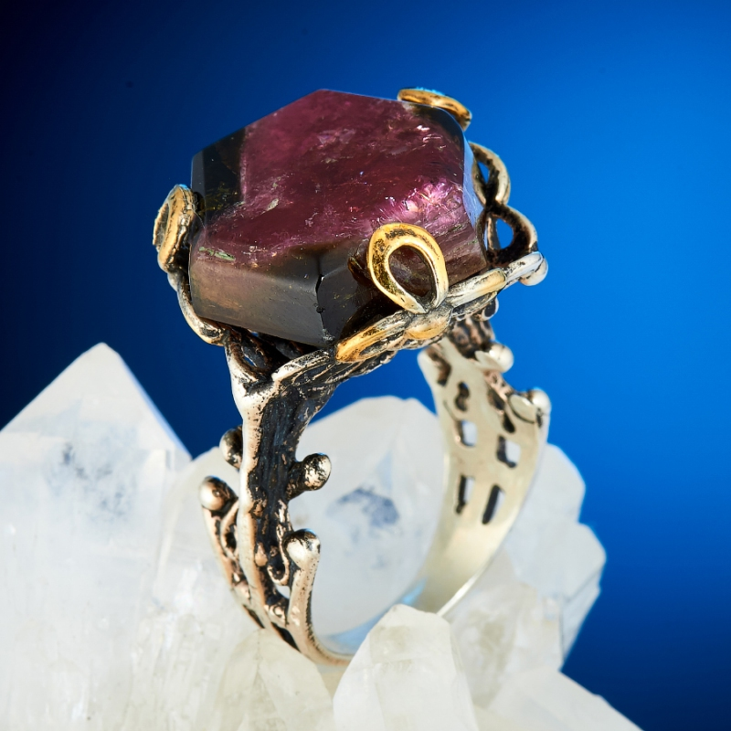 Кольцо турмалин арбузный  (серебро 925 пр., позолота) размер 17