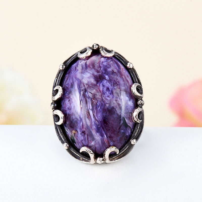 Кольцо чароит (дублет)  (серебро 925 пр.) размер 16,5